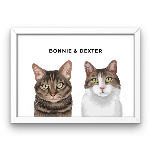 Pet Portrait - Framed Print (2 Pets)