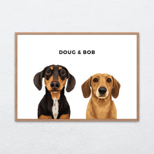 Load image into Gallery viewer, Pet Portrait - Framed Print (2 Pets)