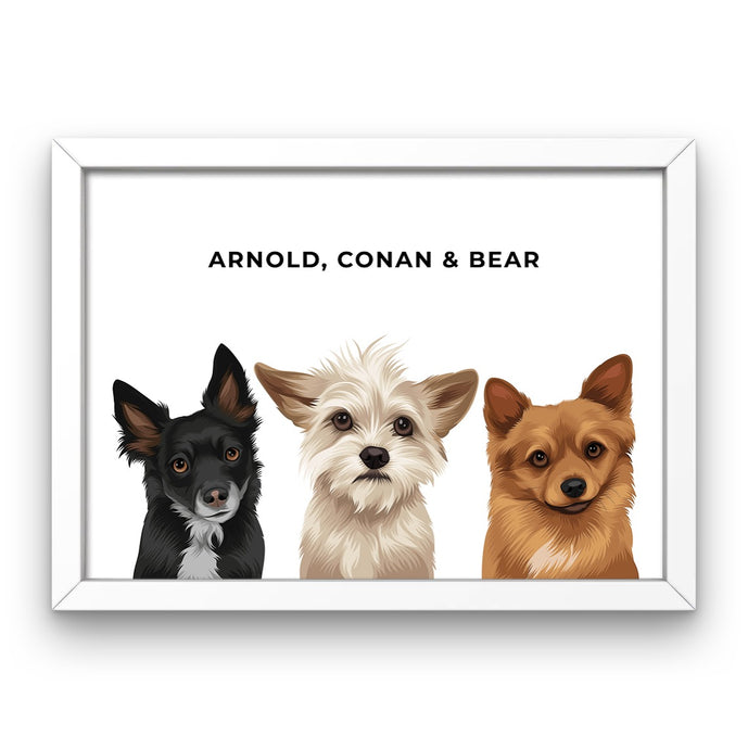 Pet Portrait - Framed Print (3 Pets)