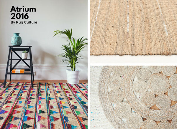 New Atrium Jute and Leather Rugs 2016 Style shots with Bunting and Delta