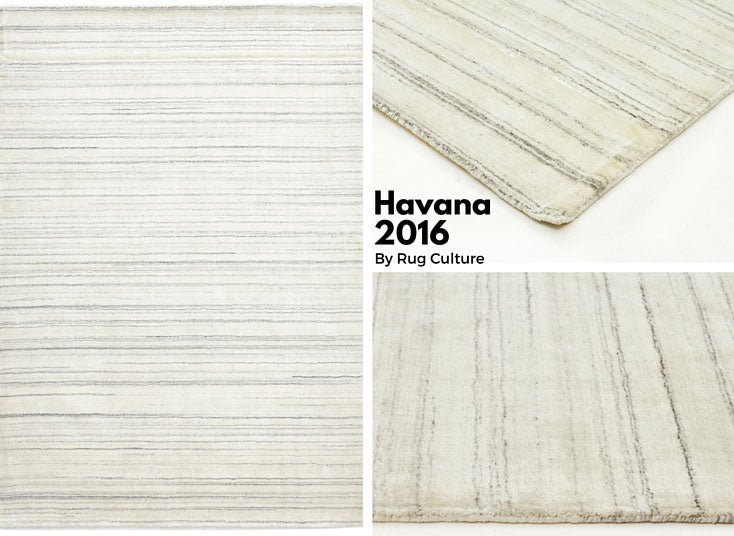 Havana Viscose and Wool Rug in White