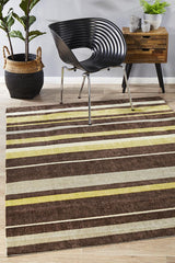 Rug Culture City Stylish Stripe 554 Rug Brown Green