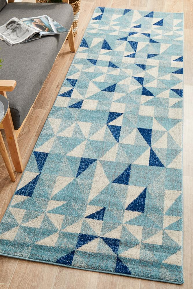 Rug Culture Mirage Illusion Modern Geo Blue Ivory Runner Rug