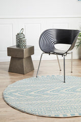 Rug Culture Mirage Adani  Modern Tribal Design sky Blue Round Rug