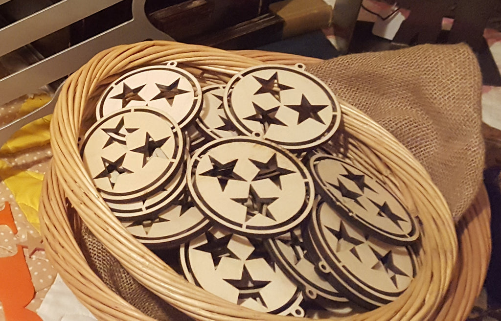 "3.5"" Tennessee Tri-Star Ornaments"