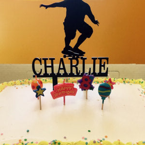 Boy Skate Boarder Cake Topper with Name
