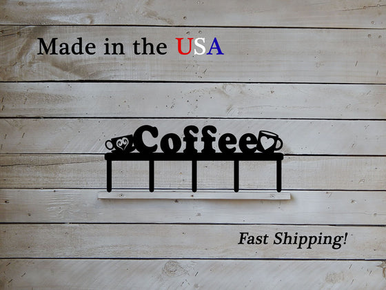 Coffee Sign with Hooks