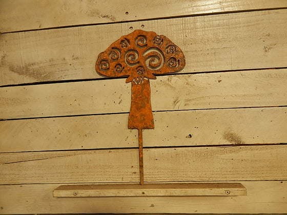 Whimsical Mushroom Yard Art - Rusty