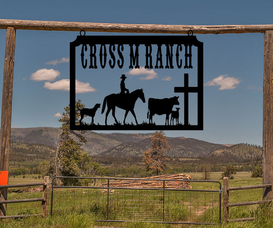 Cowboy on Horse, Cross, Ranch Sign