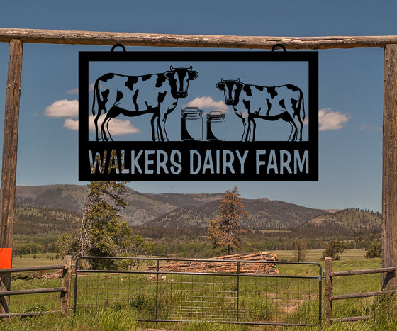 Dairy Farm Sign, Cows