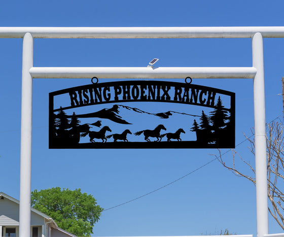 Running Horses in Mountain Ranch Sign
