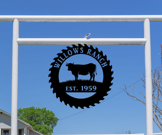 Sawblad with Cow, Ranch Sign