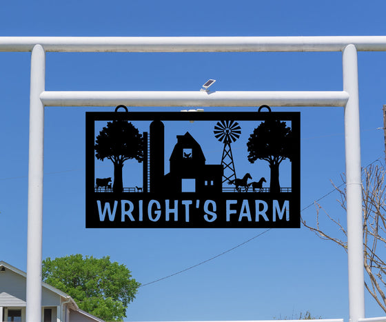 Windmill, Barn, and Silo Ranch Sign, Farm Animals