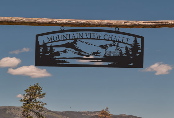 Large Entrance/Gate Farm Sign with Log Cabin