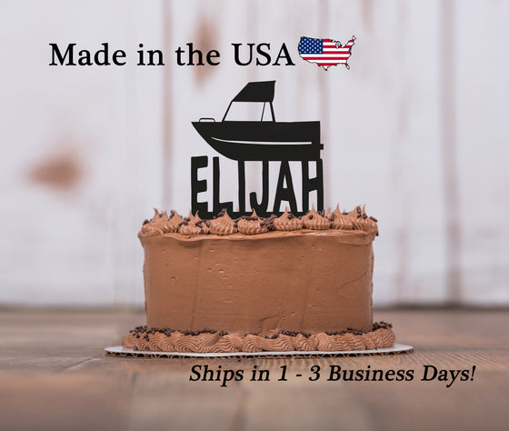 Boat Cake Topper with Name