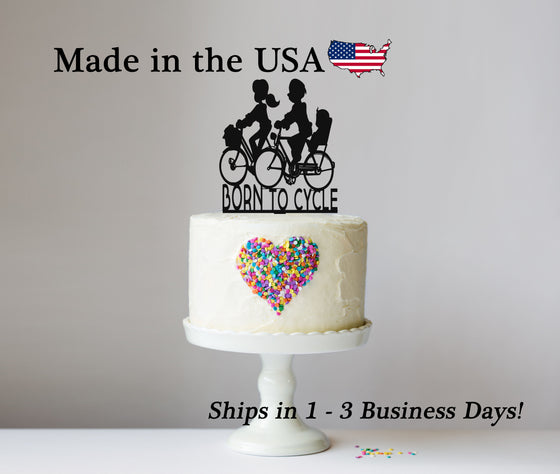 Bicycling Cake Topper with Name