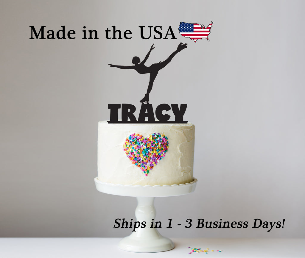 Female Ice Skater Cake Topper with Name