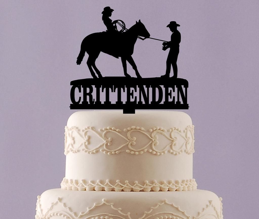 Cowboy and Cowgirl Wedding Cake Topper with Name