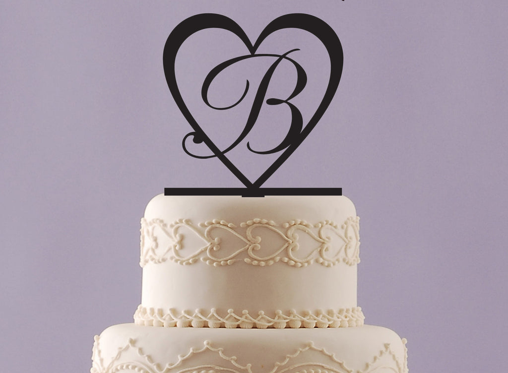 Heart Cake Topper with Initial