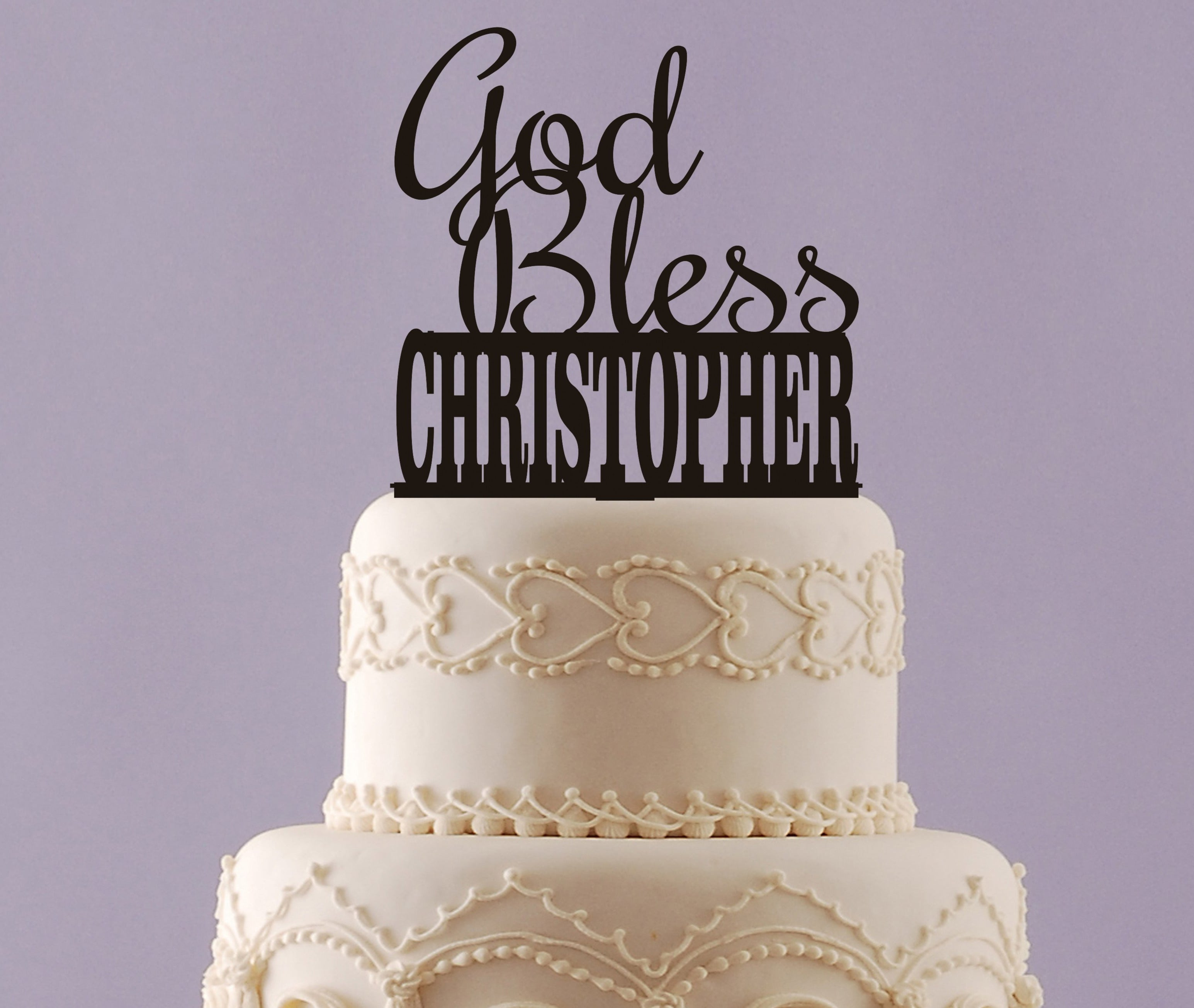 Baptism Cake Topper With Name