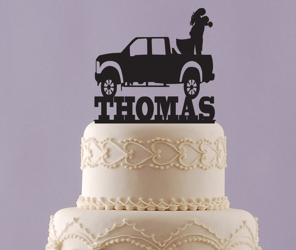 Bride and Groom in Truck Cake Topper with Name