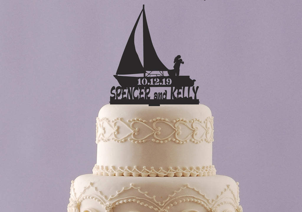 Sail Boat Wedding Cake Topper with Names