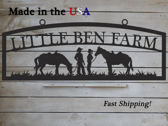 Large Farm Entrance/Gate Sign with Cowboys and Horses