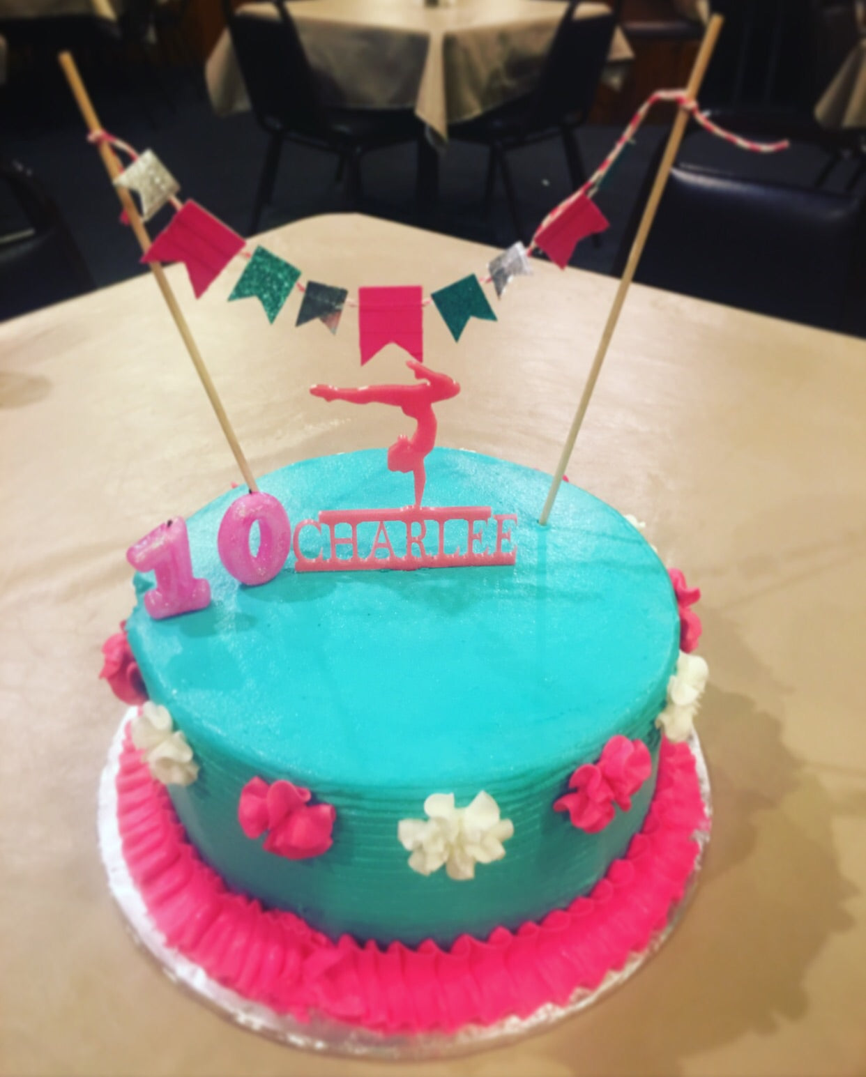 Fabulous Female Gymnast Cake Topper With Name Evyanndesigns Funny Birthday Cards Online Elaedamsfinfo