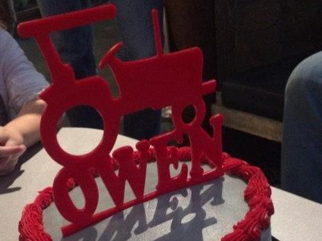 Tractor Birthday Cake Topper with Name