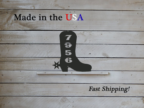 Cowboy Boot Vertical Address Plaque