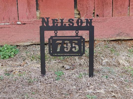 House Number and Name Plaque with Stakes