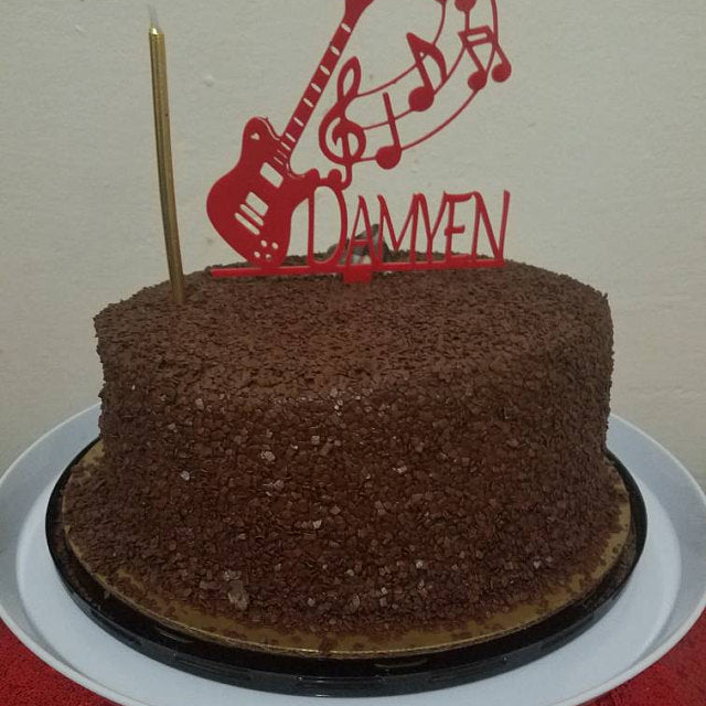 Guitar Music Cake Topper with Name