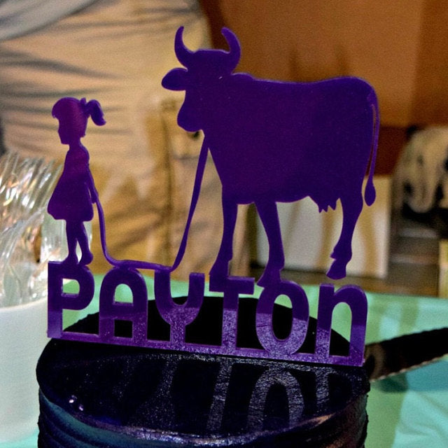 Girl and Cow Cake Topper with Name