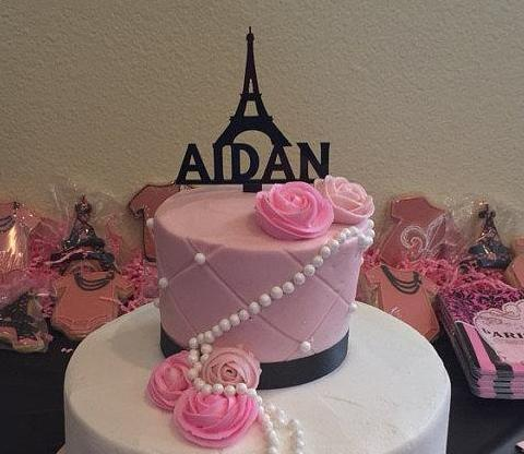 Paris Eiffel Tower Cake Topper with Name