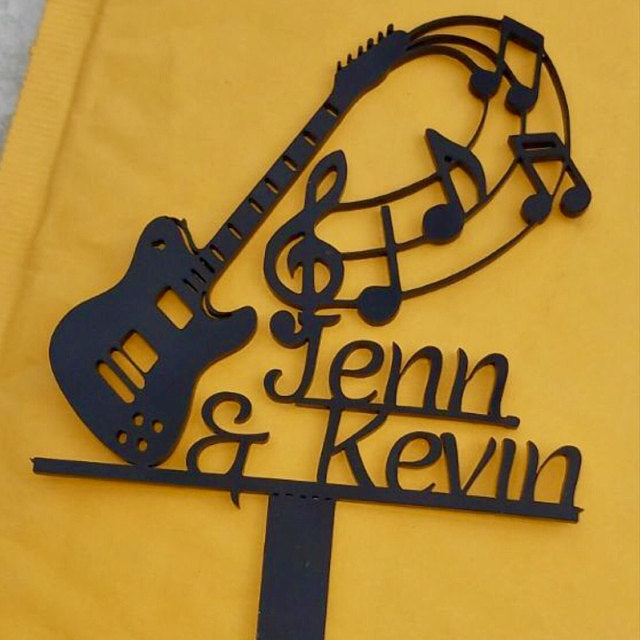 Sizes /& Personalised Options Electric Guitar Cake Toppers Various Colours
