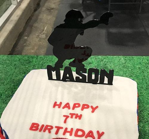 Baseball Catcher Cake Topper with Name