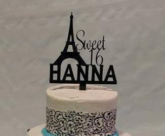 Sweet 16 with Name and Paris Eiffel Tower Cake Topper EvyAnnDesigns
