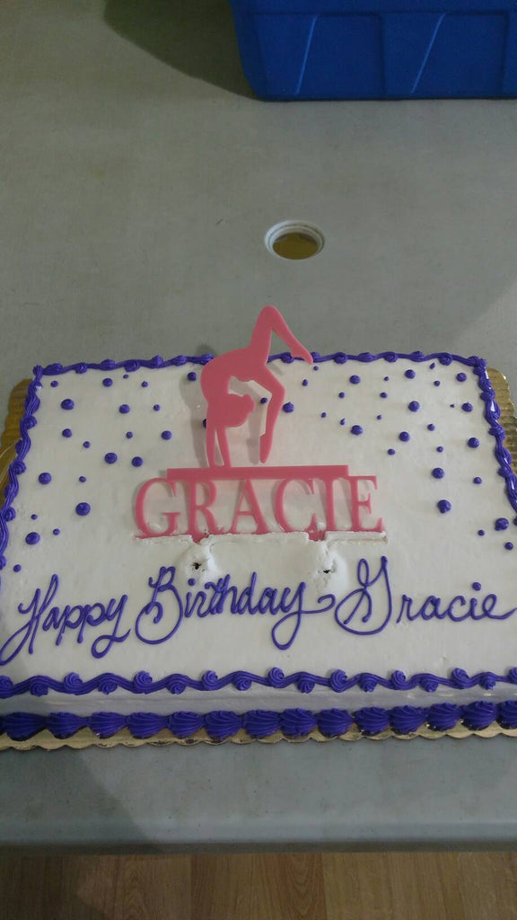 Gymnast Cake Topper with Name