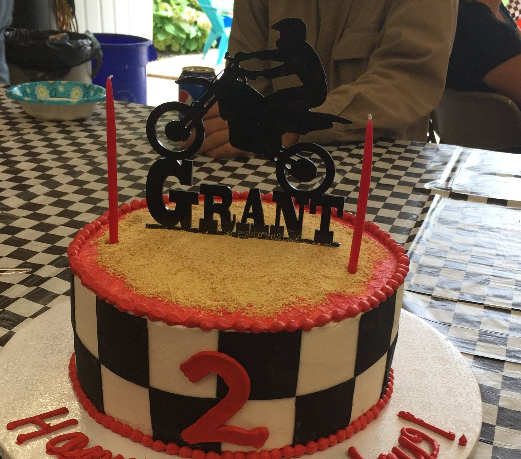 Admirable Motocross Cake Topper With Name Evyanndesigns Birthday Cards Printable Trancafe Filternl