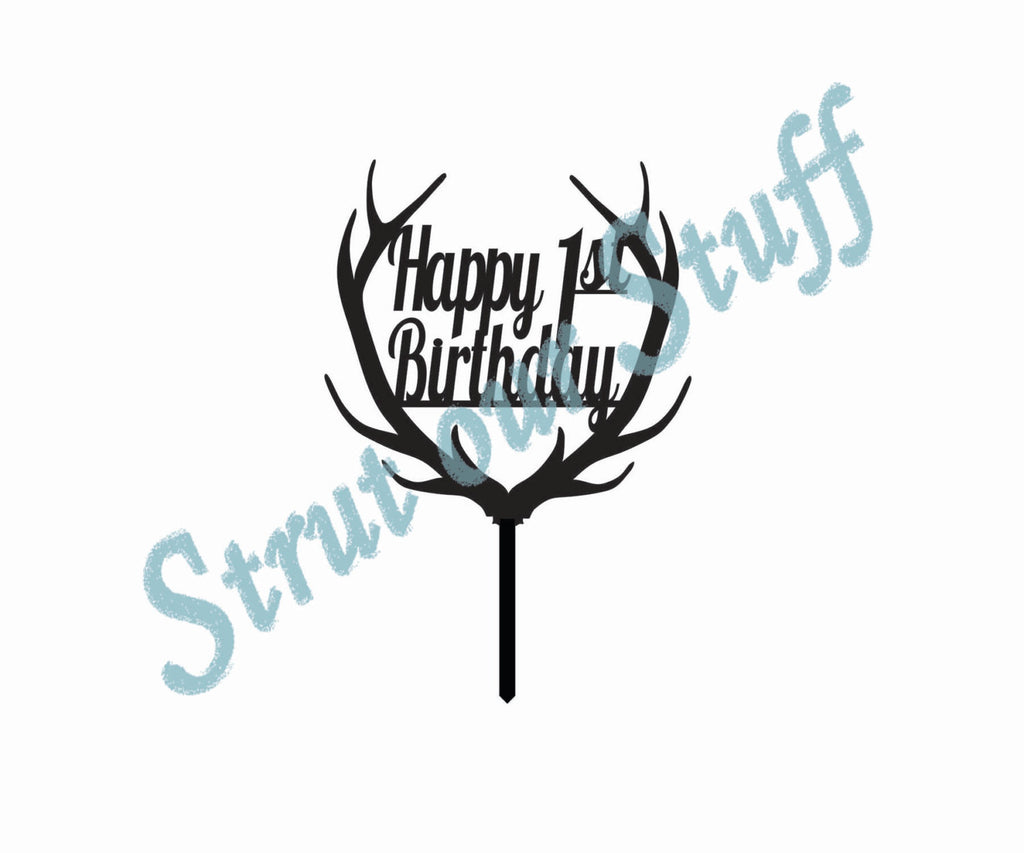 Deer Antler Happy Birthday Cupcake Topper, Any Age