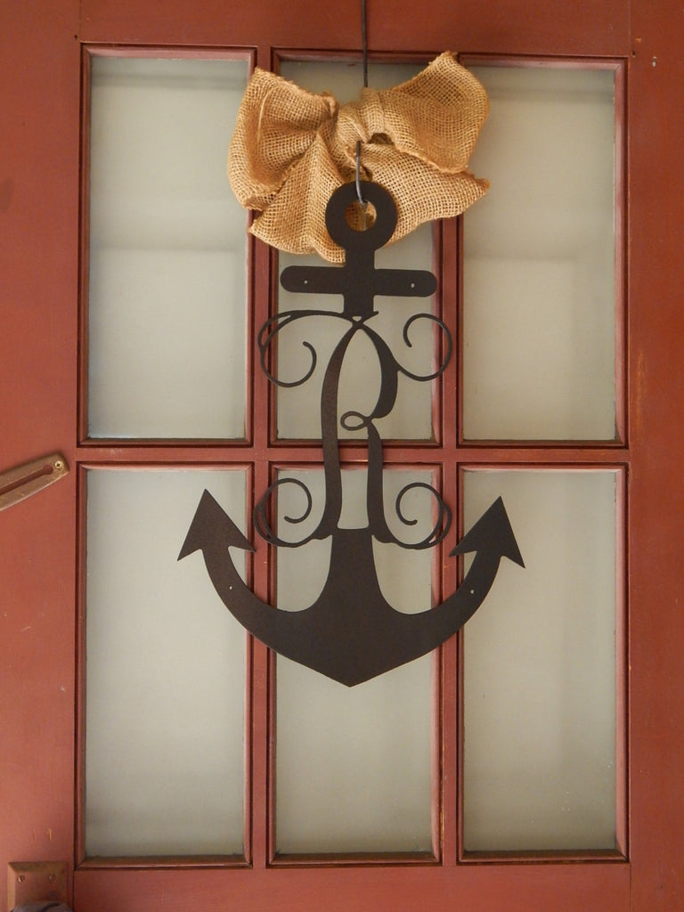 Anchor with Vine Initial