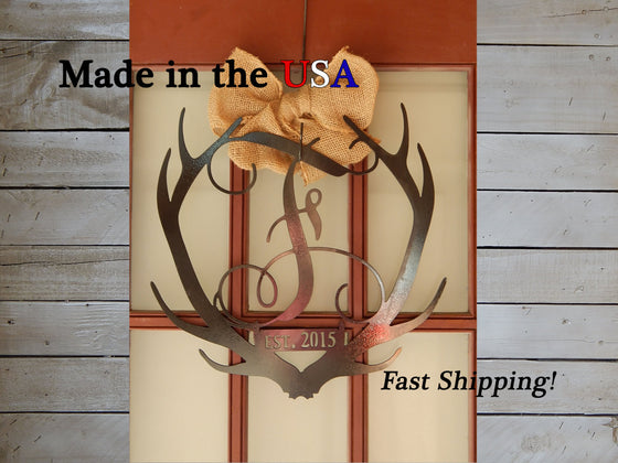 "18"" Antler Vine Monogram with Established Year"