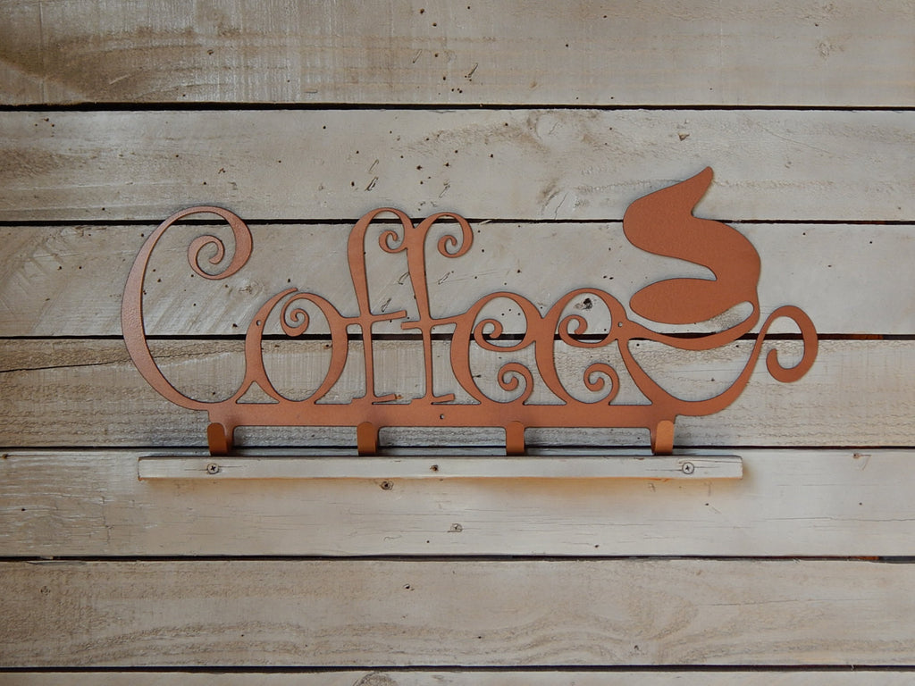 Coffee Sign with Cup and Hooks