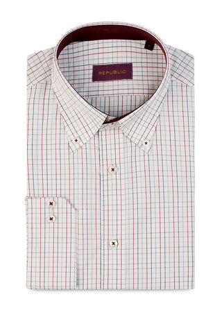 Graph Check with Button Down Collar