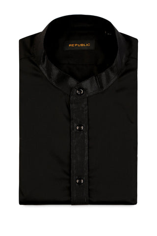 Black Mandarin Collar Shirt