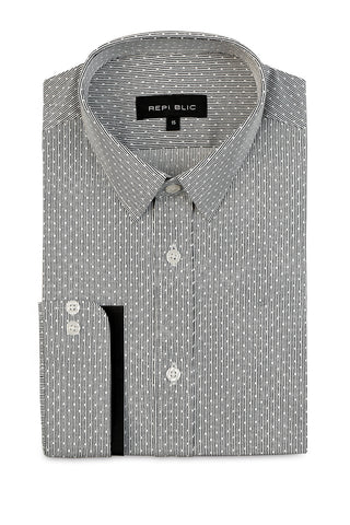Pin Dotted Shirt with Skinny Collar