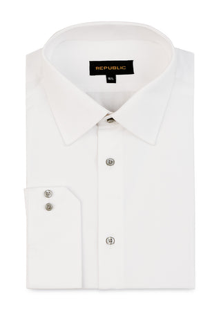 White Shirt with Small Spread Collar