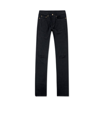 Black Coated Jeans with Knee Rips