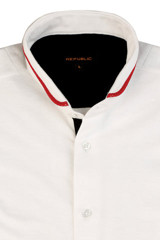 White Shirt with Contrasting Collar Detail