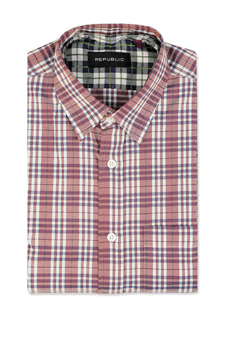 Plaid Shirt with Skinny Collar
